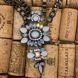 Jewelry - Multi rhinestone and black chain necklace